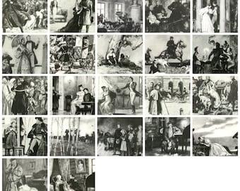 Pushkin, Set of 22 Postcards, Story, Novel, Dubrovsky, Illustration, Shmarinov, Art, Unused Postcard, Soviet Union, USSR, 1975, 1970s