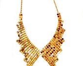 Trendy, Modern Elegant, for special occasions, Gold, Paillette Mesh, Inspired by The shape of Vintage dress collar, Statement necklace