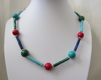 "14k Gold, Sardinian Coral, Afghani Lapis Lazuli, SB Turquoise, Malachite, Emerald Necklace 18""- 30.71g"