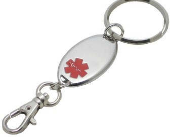 Engraving Included - Medical Alert ID KeyChain - Engraving Included!!