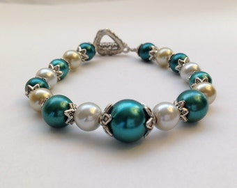 Teal / Antique White- Bridal Vintage Style Beaded Bracelet