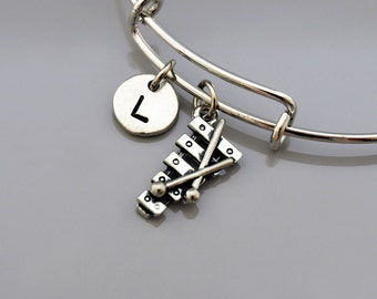 Xylophone bangle, Xylophone bracelet, Xylophone charm jewelry, Music, Musician, Instrument, Expandable bangle, Initial bracelet