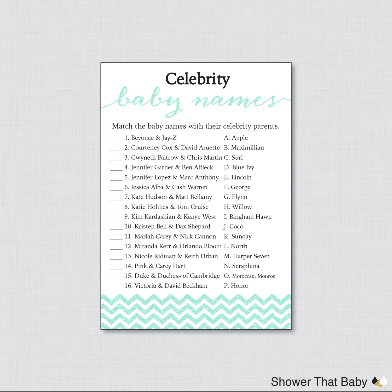 celebrity baby shower game printable celebrity baby name