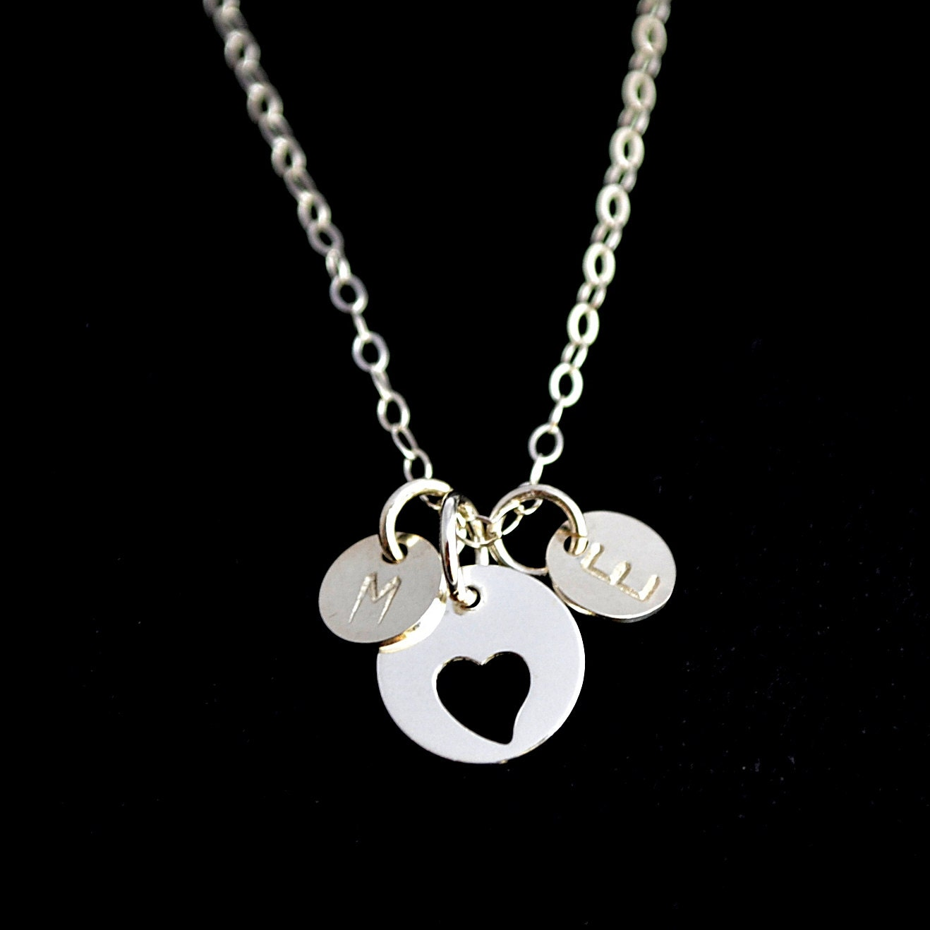 personalized love necklace two initial disc necklace double. Black Bedroom Furniture Sets. Home Design Ideas