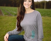 Ego Girl Outfitter Women Long Sleeve Raglan Slouch T Shirt (Charcoal Gray), Featuring a Nautical Teal Blue Green Seahorse Fish