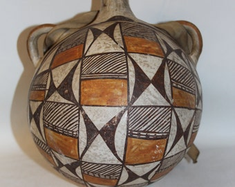 Antique Pottery : Antique Acoma Polychrome Pottery Canteen#17