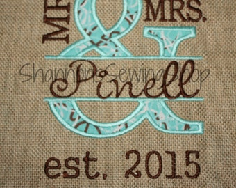 Mr. and Mrs. Burlap, Wall Art, Wedding Gift, Burlap Wedding Gift, Personized Wedding Gift