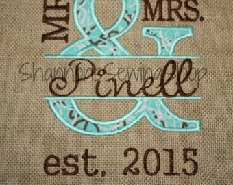 Mr. and Mrs. Burlap - Wall Art - Wedding Gift - Personalized Wedding Gift - Burlap Wedding Gift - Personized Wedding Gift - Mr and Mrs