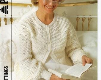 womens bedjacket knitting pattern ladies bed jacket lacy bed jacket 32-46 inch DK womens knitting pattern for women PDF digital download