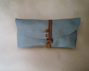 Leather Clutch - Grey/Brown