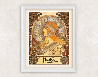 Art Nouveau Print - Alfons Mucha - Vintage Art - Home Decor - Office Art - 8x10 - Item #522