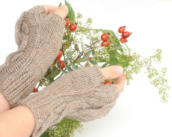 Knit Arm Warmers Tan brown - Cable knit organic wool fingerless gloves - hand knit merino wool mitts