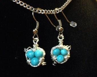 Turquoise Birds Nest Earrings