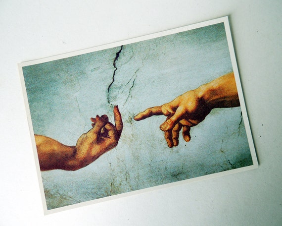 After 39 the creation of adam 39 painting by michelangelo for Creation of adam mural