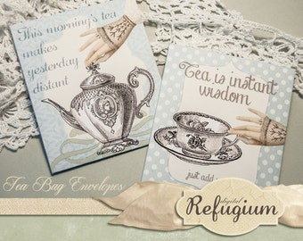 printable Tea Bag Envelopes INSTANT DOWNLOAD collage sheet It's Tea Time