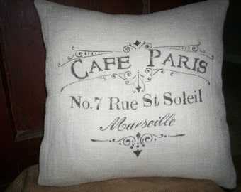 "Shabby  Country French 16""x16"" Cafe Paris in Marseille Burlap Pillow Cover"