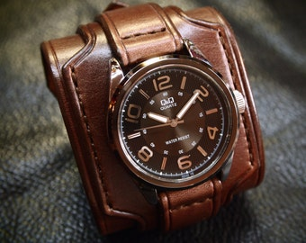 Leather cuff watch wrist watch vintage Nathan Drake style wide layered Brown bridle leather