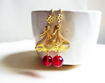 Art Nouveau Red Crystal Drop Ear-rings // Natural Brass Channel & Daisy Lever-back // Swarovski Matte Red Globe Beads (One Pair)