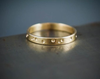 Mens 14k Gold Ring Band, Brushed 14k Recycled Gold Ring