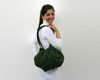 Purse Hobo Bag - Shoulder Bag Knitted in Tweed Green Wool