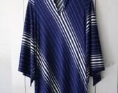 vintage 1970s Olga navy striped caftan dress