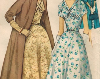 1950s Simplicity 1930 Vintage Sewing Pattern Misses Dress and Coat Size 14 Bust 34