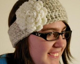 CROCHET PATTERN Headband Chunky Tapered Button girl girls ladies lady woman women Teen Adult one size flower skill level intermediate