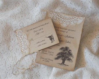 Vintage Rustic Wedding Invitations - Oak Tree - Burlap and Doily Lace -  Texas Longhorn Southern Country - Shabby Chic Farm Barn Outdoor