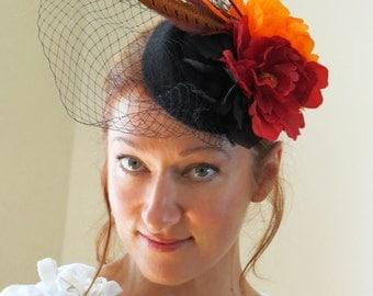 Pheasant feather fascinator red orange wedding hat   INGA FIRE PHEASANT