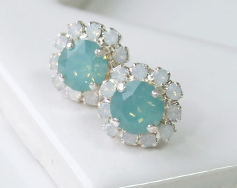 Pacific Opal Swarovski Crystals Framed with Opal Halo Crystals on Silver Post Earrings