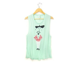 SAMPLE SALE - Pierre Le Frenchman Tank - Scoop Neck Racerback Swing Tank Top in Mint - Women's Size L Q