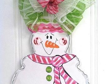 Pink + Green Snowman Door Hanger - Bronwyn Hanahan Art
