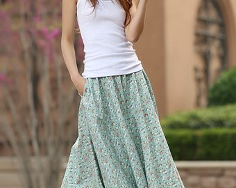 floral skirt, A line skirt, green skirt, womens skirt, summer skirt, custom skirt, floral print skirt,linen skirt,long skirt,gift ideas 948