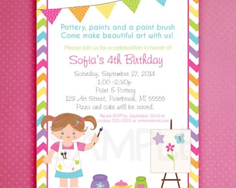Painting Party Invitations Art Party Pottery Party Arts and Crafts Party Chevron Pattern