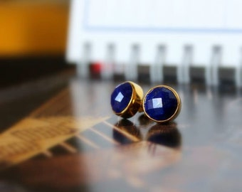 Lapis Lazuli Bezel Set Stud Post Earrings.....LIMITED EDITION