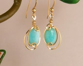 Aqua Blue Gold Drop Earrings,Gold Filled Amazonite Stone Wire Wrapped Small Dangle Earrings,Jewelry Gift For Her,Turquoise Blue Gold Earring