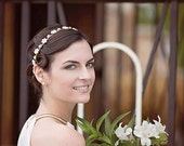 Rhinestone and Pearl Flowers Bridal Headband, Diamante and Gold Faux Pearl Wedding Hairband, Diamante Pearl Wedding Hairband,Bridal Headband