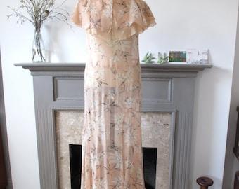 1920s silk floral print flapper dress