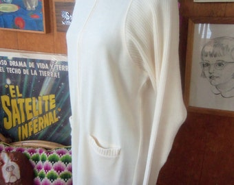 80s ELEONORA for BLOOMINGDALE'S--Cream Sweater Dress--Made in Italy--Zip Front--Apron Pockets--Dolman Sleeves--Acrylic & Wool