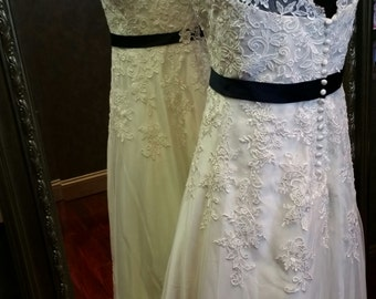 Lace Wedding Dress with Straps and Navy Blue Sash