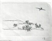 Drypoint Print: Desert scene, bird flying over brush