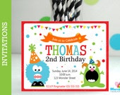 6 Monster Invitations, Handmade Monster Party Inspired Invitations , Monster Birthday  A1056