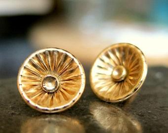 Corrugated Stud Earrings - Gold Post Earrings - Versatile Silver Earrings - Trendy - Dainty - Handmade - Minimalist Jewelry - VenexiaJewelry