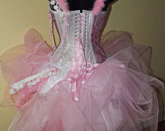 Pink candyfloss wedding dress / prom gown girly MADE TO ORDER/ measure