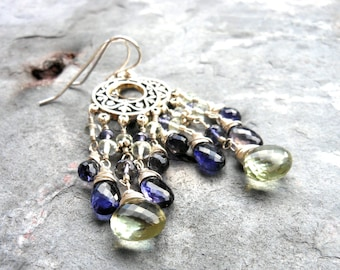 Chandelier Earrings Gemstone Sterling Silver Green Amethyst Blue Iolite Long Boho Waterfall Earrings