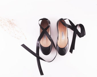 Black Leather Ballet Flats with Ankle Ribbons | Ballerina Flats | Women's Fashion | Audrey Hepburn Style Flats ... Ready to Ship