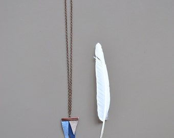 necklace - boho blue and grey leather triangle necklace - tribal leather necklace - blue tones leather necklace - gypsy soul pendant