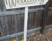 Wedding Arrow Directional Sign - Rustic, Distressed, Outdoor Wedding Sign