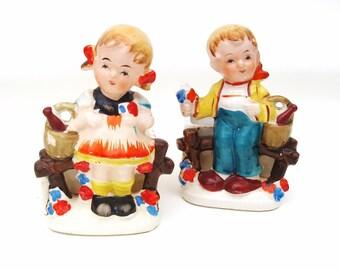 Occupied Japan Figurines / Ceramic Planters / Boy Girl Figures / Herb Pots - Twin Nursery Bookends