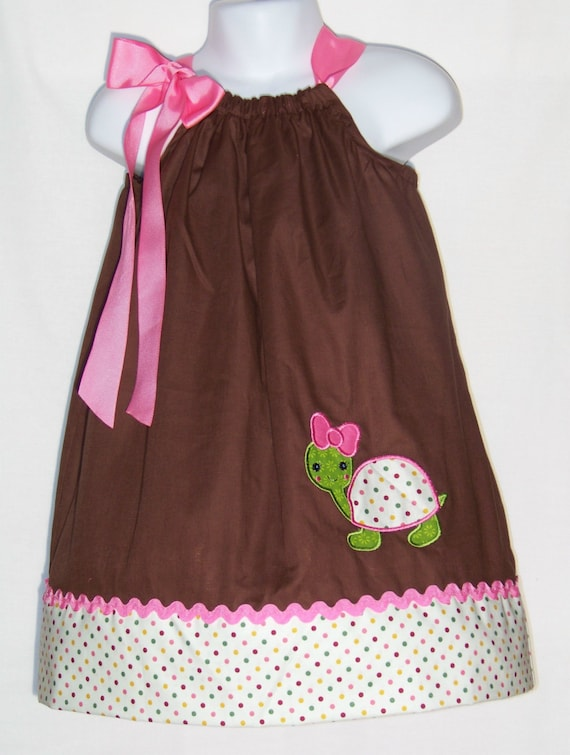Cute Ideas For Pillowcase Dresses : Turtle Pillowcase Dress / Pink / Brown / Cute / Birthday